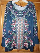 NWT NEW DIRECTION WOMENS SIZE 3X BLUE BOHO TUNIC TOP LONG BELL SLEEVES