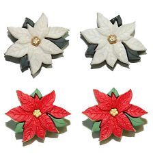 RED or WHITE POINSETTIA CHRISTMAS PIERCED or CLIP ON EARRINGS - 2 STYLES