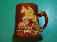 LARGE DARTMOUTH POTTERY BROWN TANKARD HORSE RACING NATIONAL HUNT POINT TO POINT