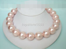 sea shell pearl necklace 20mm 100% round pink south