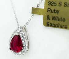 RUBY 0.75 Cts & WHITE SAPPHIRE PENDANT NECKLACE .925 Silver  * NEW WITH TAG *