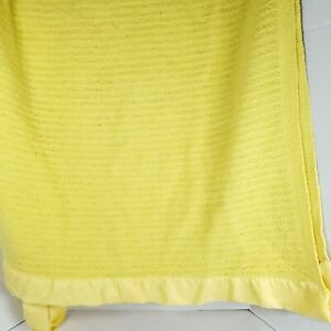 Vintage Acrylic Blanket Satin Trim Waffle Weave Yellow 82 × 68 NEEDS REPAIR
