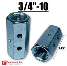 """3/4""""-10 x W1"""" x L 2-1/4"""" Hex Threaded Rod Coupling Nut Zinc w Witness Holes"""