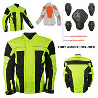 Motorbike Jacket Hi Vis Black Waterproof Motorcycle Textile Biker CE Armoured