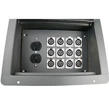 Recessed stage floor audio box with 12 XLR female mic jacks connectors AC duplex