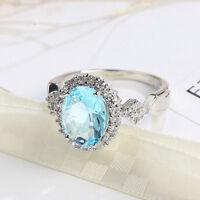 Clasical Oval Cut Titanic Ocean Blue Topaz Gemstone Silver Ring  Size 6-10