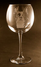 New! Etched Boston Terrier on Elegant Red Wine Glasses - Set of 2