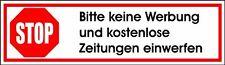 5 Aufkleber STOP Bitte keine Werbung und kostenlose Zeitungen einwerfen 2x7cmA10