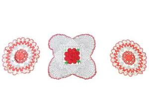 Lot of 3 Vintage Doilies Red White Rose Circle Square Crocheted Floral Decor