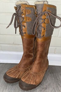 Ugg Belcloud Waterproof Brown Leather Boots Tall Australia Shearling Womens 7.5