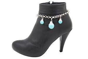 Women Silver Metal Chain Bohemian Boot Bracelet Shoe Charm Turquoise Blue Balls