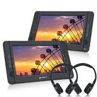 """2X10.1"""" HD Tragbarer DVD Player Auto Kopfstütze 2 Monitore USB SD AKKU+Kopfhörer"""