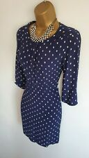 Joules Calista Navy White Polka Dot Spotty Tunic Dress Long Top UK 12