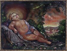 Mexican Painted Retablo on copper or tin Sleeping infant, Signed B. Rivera 1778