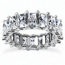 7.30 ct Emerald cut Diamond Ring Platinum Eternity Band 17 x .43 ct D-F Vvs1 Gia