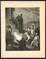 1880s Antique Sorcery Witchcraft Book Burning Christian Art Engraving Print