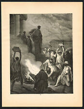 1880s Antique Vintage Sorcery Witchcraft Book Burning Bible Art Engraving Print