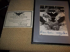 Warren Spahn and Whitey Ford autographed 8 x l0 matted and framed with COA