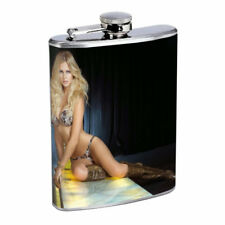 Argentina Pin Up Girls D3 Flask 8oz Stainless Steel Hip Drinking Whiskey