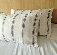 Set of Two French chic washed soft  Linen Pillow Case blue and white Stripes