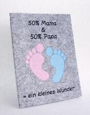 Bestickte Mutterpasshülle Filz 50/& Mama /& 50/% Papa Neu 2017 Baby Füße