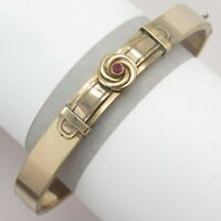 Antique Victorian Gold Filled GF Eternity Knot Ruby Paste Buckle Bangle Bracelet