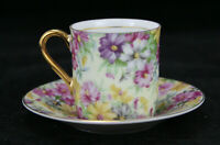 Royal Crown Porcelain Tea Cup & Saucer Set - Intricate Floral Design