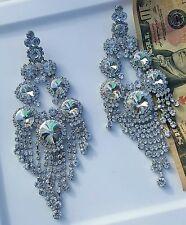 BRIDAL CHANDELIER SILVER RHINESTONE POST earrings drag queen beauty pageant