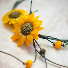 Handmade Necklace Pendant SUNFLOWERS Polymer Clay Womens Jewelry