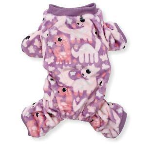 Soft Warm Dog Pajamas FLEECE Jumpsuit Cute Pet Clothes Small Medium Pet XXS - L