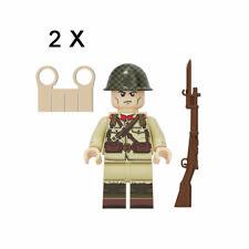 2pcs Military Field Army Soldier Building Blocks Bricks Figures Models Toys