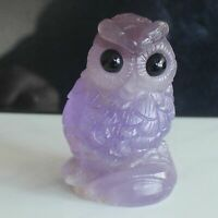 Carved natural purple fluorite crystal quartz owl Animal Figurine home decor
