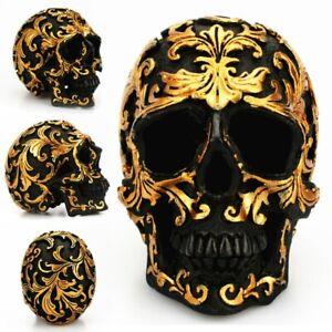 Resin Human Skull Gothic Head Figurine Gold Skeleton Halloween Horrific Decor UK