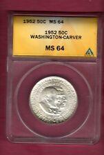 1952 Washington-Carver Half Dollar ANACS MS64 White Nice Cartwheel Luster!!!