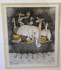 CHRISTINE CHAGNOUX Animal Ark hand-colored etching Signed