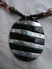 Carved Oval Abalone Pendant Necklace stripes beads wood handmade tribal shell