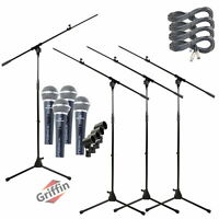 GRIFFIN Microphone Stand Boom Arm 4-PACK Holder XLR Cable Karaoke Wired Mic Clip