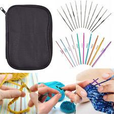 Aluminum Crochet Hooks Needles Knit 22 Pcs Set Multi Color Weave Craft Yarn US