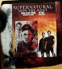"Supernatural Dean Winchester Castiel & Crowley Throw Blanket 45""x60"" NEW"