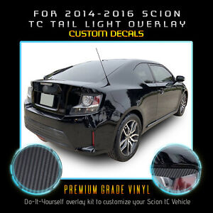 For 2014 2015 2016 Scion tC Tail Light Eyelid Eyebrow Decal - Carbon Fiber Vinyl