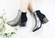 NEW WOMEN LADIES METALIC ANKLE BOOTS CHUNKY LOW MID BLOCK HEEL OFFICE SHOES SIZE