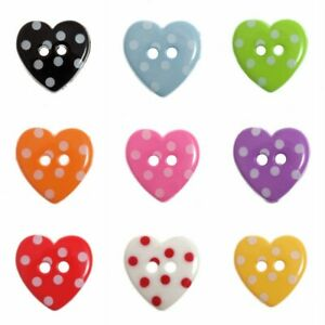 Dotty 2Hole Heart Button - 2 Sizes - 9 Colours - Fast Dispatch and Free Postage