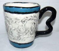 BELLA CASA GANZ 14 OZ CERAMIC FLOWERS 3D HAND PAINTED COFFEE MUG CUP