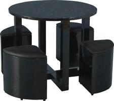 Charisma Stowaway Dining Set in Black Gloss/Black Faux Leather