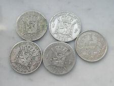 Lot 5 x 1 franc en argent Léopold 2 Belgique 1830 - 1880 1886 1909