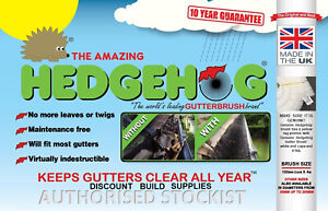 100mm Original Hedgehog Gutter Brush Leaf Guard ALL COLOURS 10 Year Guarantee
