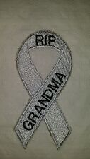 Lung cancer mesothelioma awareness ribbon motorcycle biker vest patch iron on