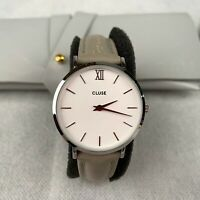 CLUSE Minuit Women's Watch Quartz Gray Leather Strap White Analogue Gift CL30006