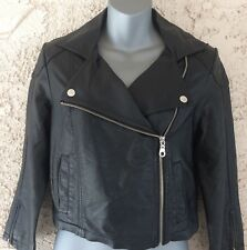 Women's Black MEMBER'S ONLY Faux Leather Motorcycle Jacket Size S NWT