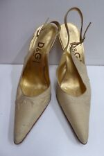 VINTAGE D&G DOLCE AND GABBANA HIGH HEEL VERO CUOIO STRAP SLING BACK SHOES 37 1/2